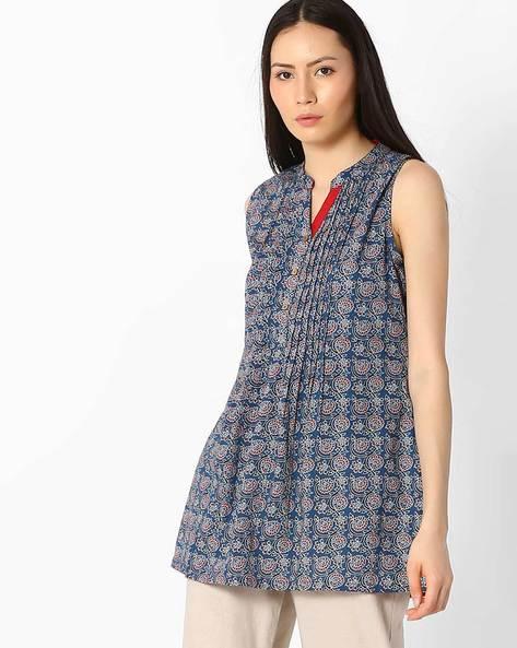Floral Print Tunic With Pintucks By SIYAHI ( Blue )