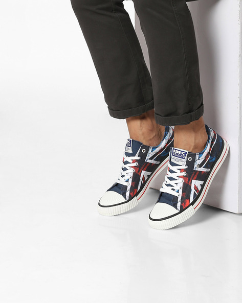 Printed Lace-Up Casual Shoes By British Knights ( Black )