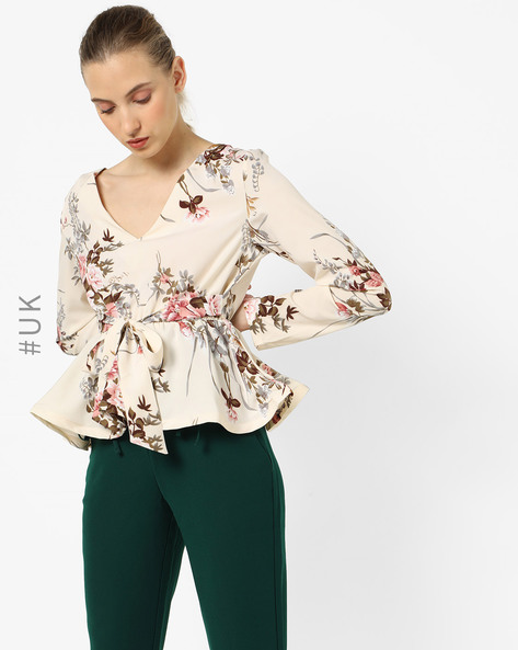 Floral Print Peplum Top With Waist Tie-Up By OEUVRE ( Beige )