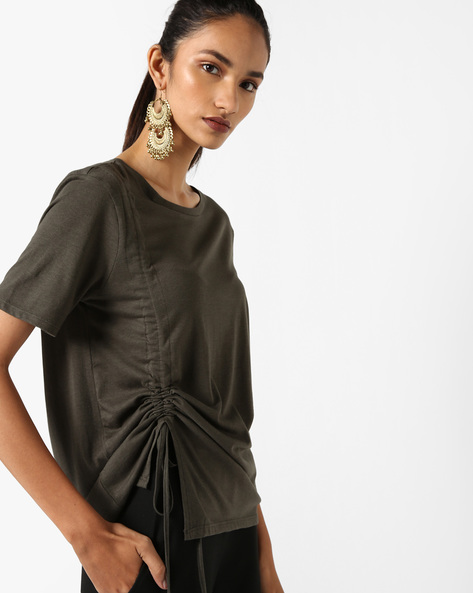 Cotton Knit Top With Gathers By AJIO ( Olive )