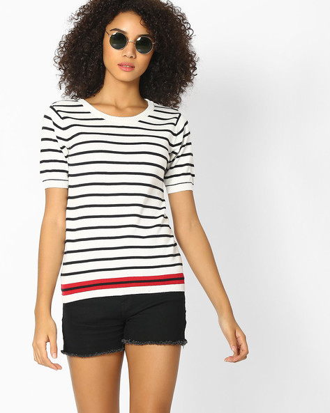 Striped Top With Ribbed Hems By Teamspirit ( White )