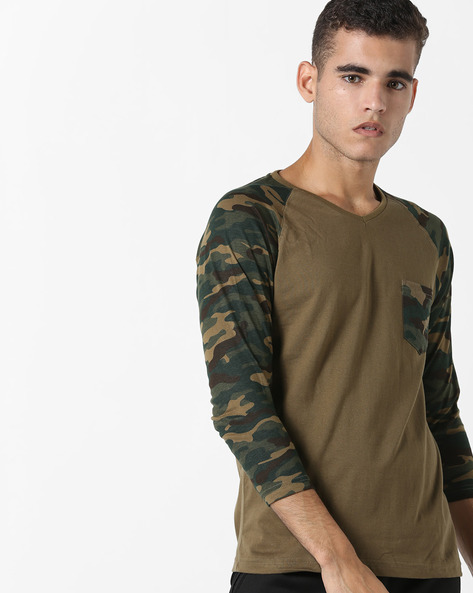 Camouflage Print Cotton T-shirt By DIFFERENCE OF OPINION ( Khaki ) - 460136981002