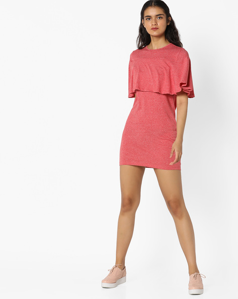 Layered Sheath Dress By AJIO ( Coral )