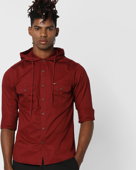 Hooded Shirt With Flap Pockets By AJIO ( Teal )
