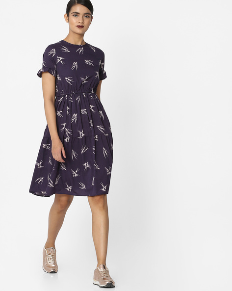 Printed Fit & Flare Dress By Oxolloxo ( Black )