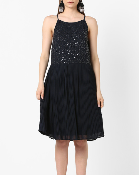 Embellished Fit & Flare Dress With Knife Pleats By Project Eve WW Evening ( Navy )