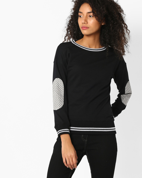 Sweatshirt With Drop-Shoulder Sleeves By TEAM SPIRIT ( Black )