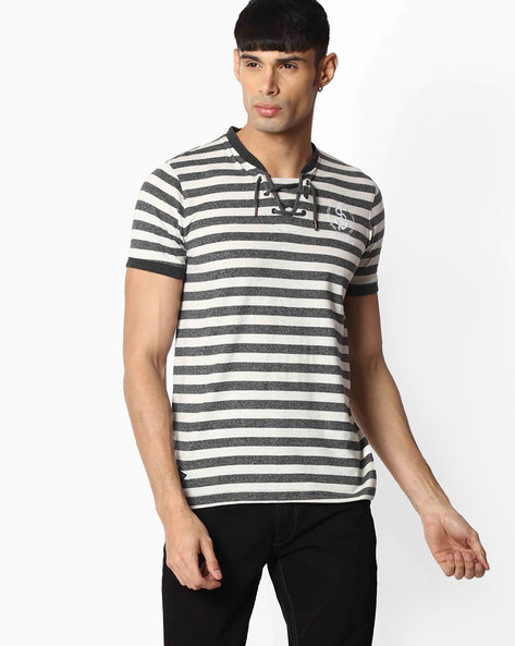 Striped T-shirt With Lace-up By TEAM SPIRIT ( Offwhite )