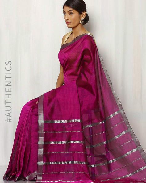 Handwoven Mangalgiri Cotton  Silk Saree By Indie Picks ( Lavender )