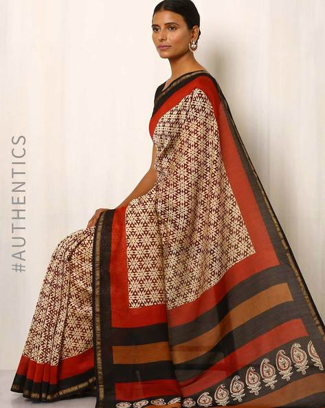 Bagru Handblock Print Chanderi Saree By Indie Picks ( Multi )