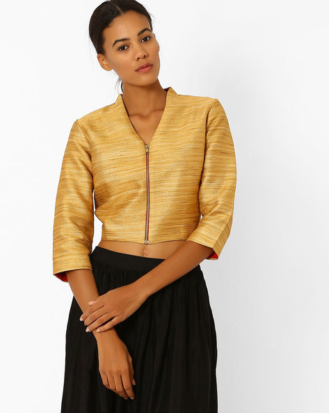 Crop Jacket With Front Zipper By Global Desi ( Gold )