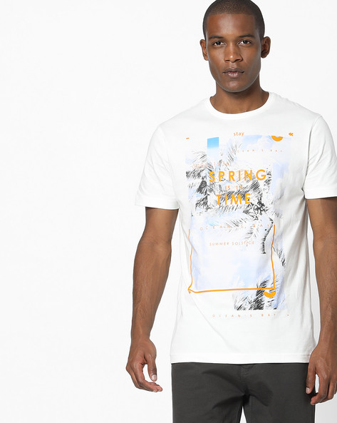 Graphic Print Crew-Neck T-shirt By Teamspirit ( Offwhite )