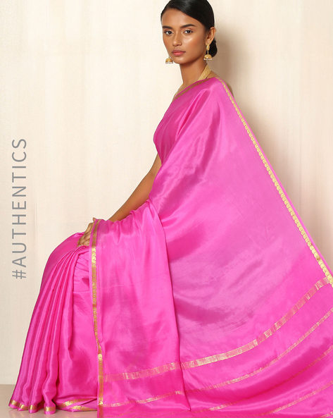 Pure Mysore Silk Crepe Saree By Indie Picks ( Pink )
