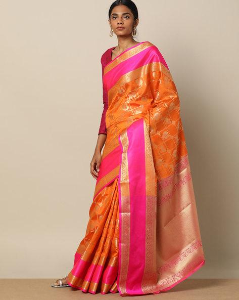 South Silk Kanakavali Design Saree By Pretty Woman ( Orange )