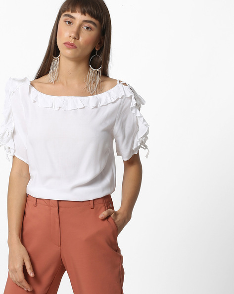 Ruffled Top With Lace-Up Sleeves By Oxolloxo ( White )