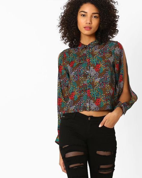 Printed Shirt With Slit Sleeves By AJIO ( Navyblue )