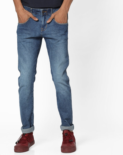 Lightly Washed Skinny Fit Jeans By WRANGLER ( Blue )