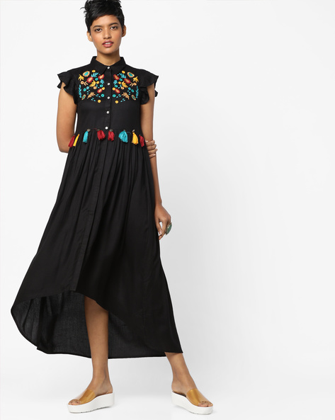 High-Low Dress With Embroidery By AJIO ( Black )