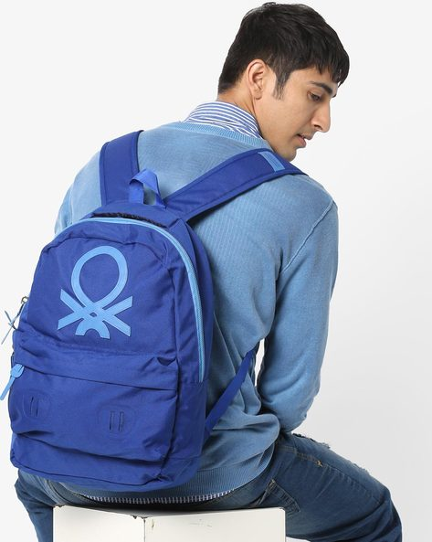 Laptop Backpack With Adjustable Straps By UNITED COLORS OF BENETTON ( Blue ) - 460160379002