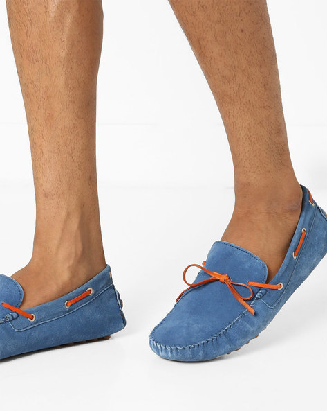 N9-Treated Boat Shoes With Moc-Stitched Upper By AJIO ( Blue )