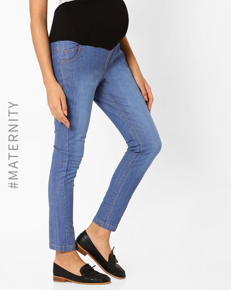 Lighty Washed Maternity Jeans By Preggear ( Lightblue )