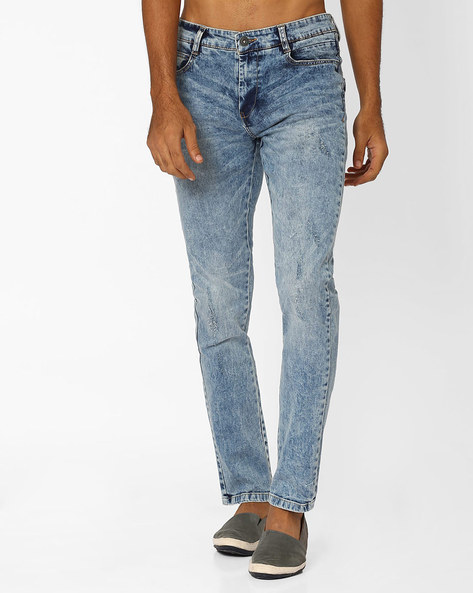 Stone-Washed Slim Fit Jeans By DNM X ( Ltblue )