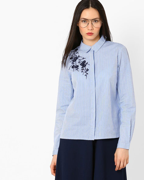 Striped Shirt With Floral Embroidery By Vero Moda ( Blue )