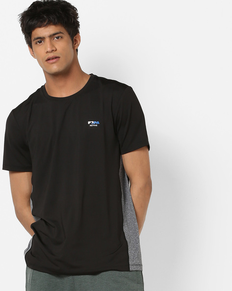 Crew-Neck T-shirt With Contrast Panels By US POLO ( Black )