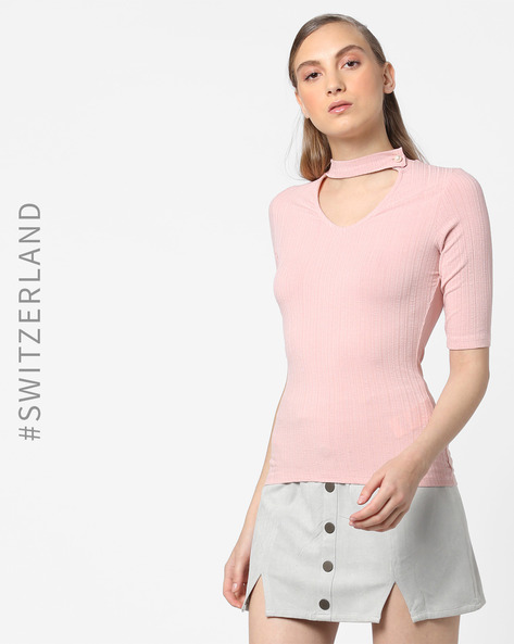 V-Neck Top With Choker By TALLY WEiJL ( Pink )