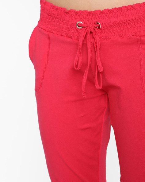 Cuffed Track Pants With Drawstring Waist By AJIO ( Pink )