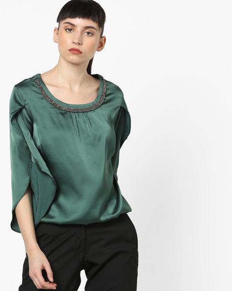 Embellished Top With Slit Sleeves By FIG ( Green )