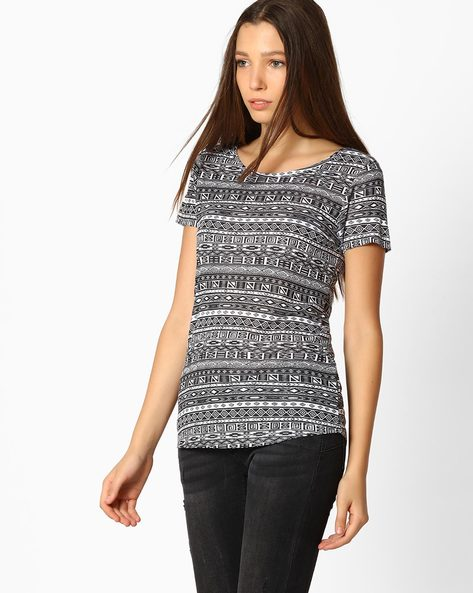 Printed Top With Short Sleeves By Fame Forever By Lifestyle ( Black )