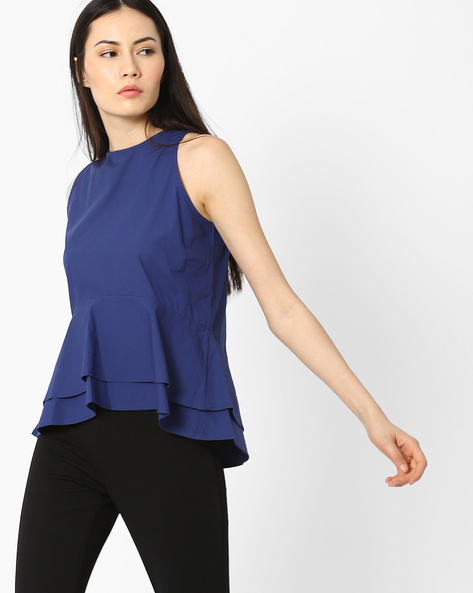 Two-Tiered Peplum Top By AJIO ( Navyblue )