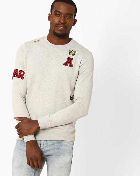 Crew-Neck Sweatshirt By ADAMO LONDON ( Greymelange )