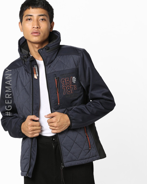 Colourblock Jacket With Quilted Panels By Tom Tailor ( Blue )