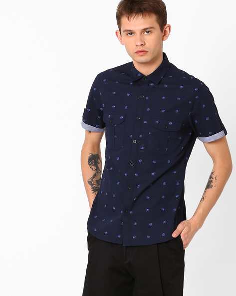 Printed Slim Fit Shirt By AJIO ( Navy )