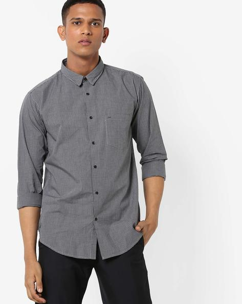 Checked Shirt With Patch Pocket By BASICS ( Grey )