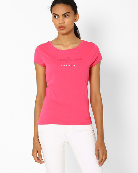 Crew-Neck Cotton T-shirt By Pepe Jeans ( Pink )