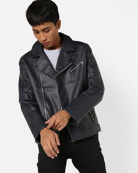 Panelled Slim Fit Biker Jacket By The Indian Garage Co ( Navy )