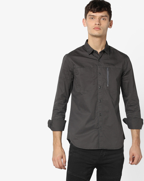 Panelled Shirt With Zip Pocket By AJIO ( Charcoal )