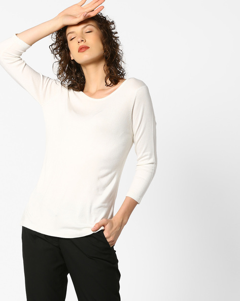 Knitted Top With Ribbed Hems By PE WW Work ( Offwhite )