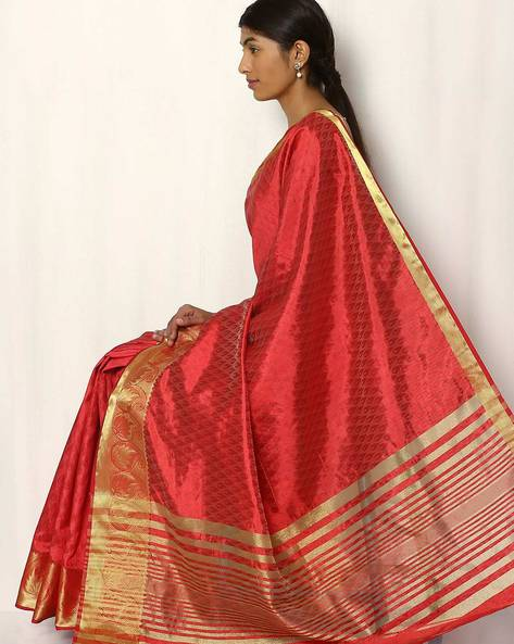 Embossed Design Art Silk Saree By Rudrakaashe-MSU ( Red )