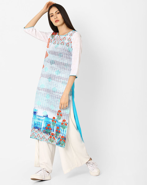 Art Deco Print Straight Kurta With Embroidery By AURELIA ( Blue )