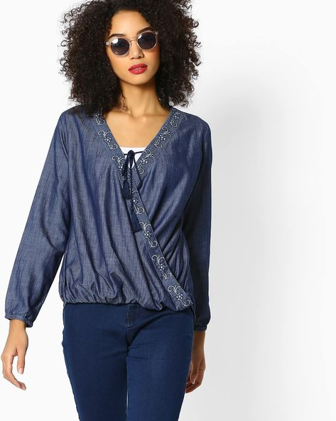 High-Low Top With Surplice Neckline By DNMX ( Blue )