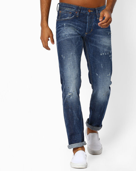 Mid-Wash Lightly Distressed Jeans By Celio ( Blue )