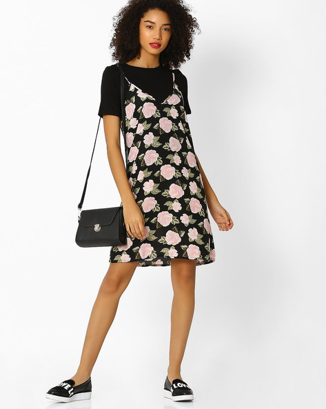 Printed Dress With Contrast Inner T-shirt By Femella ( Black )