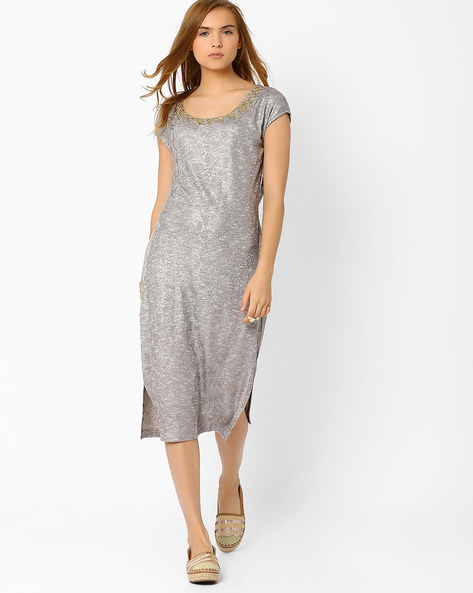 Midi Dress With Embellished Neckline By AJIO ( Silver )