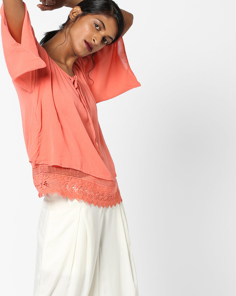 Top With Tassel Tie-Up By Oxolloxo ( Coral )