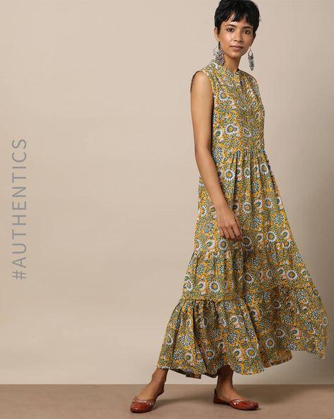 Cotton Handblock Floral Print Sleeveless Dress By Lyla ( Yellow )