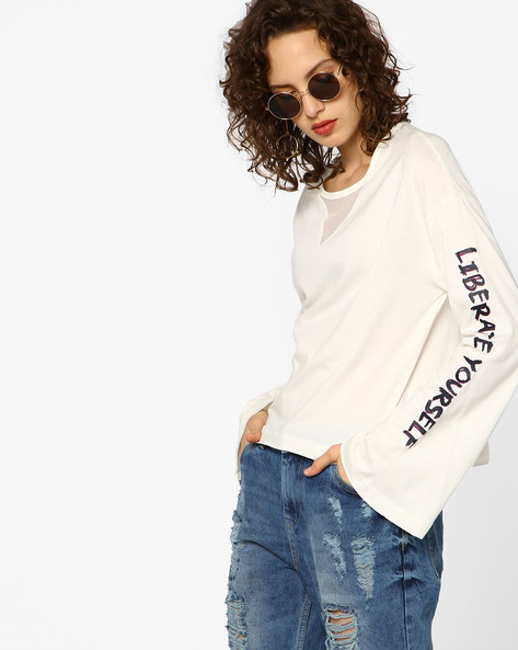 Placement Print T-shirt By AJIO ( Offwhite )